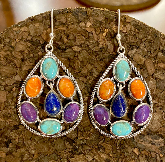 Multi Stone Earring set in Sterling Silver