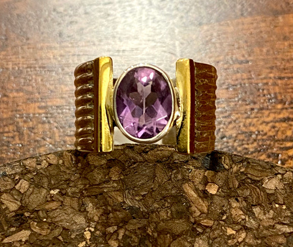 2-Tone Amethyst Ring set in Sterling Silver available in other stones