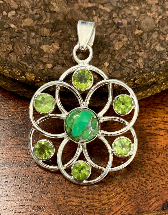 Green Copper Turquoise Pendant set in Sterling Silver also available in other stones