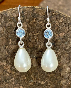 Pearl and Sky Blue Topaz Earring set in Sterling Silver