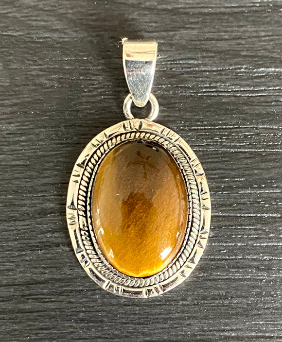 Tigers Eye Pendant set in Sterling Silver also available in other stones