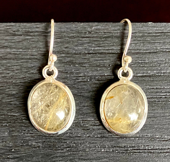 Golden Rutile Earrings set in Sterling Silver