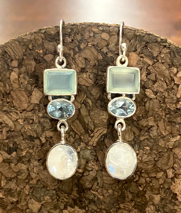 Moonstone Earrings set in Sterling Silver