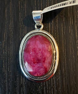 Ruby Cab Pendant set in Sterling Silver