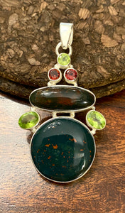 Bloodstone Pendant set in Sterling Silver