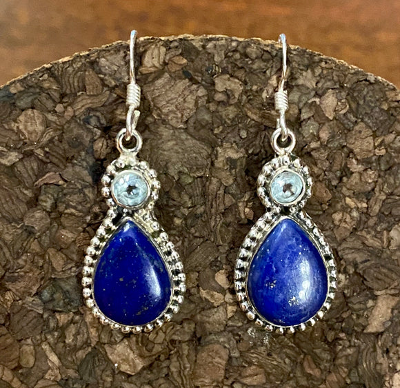 Lapis and Blue Topaz Earring set in Sterling Silver