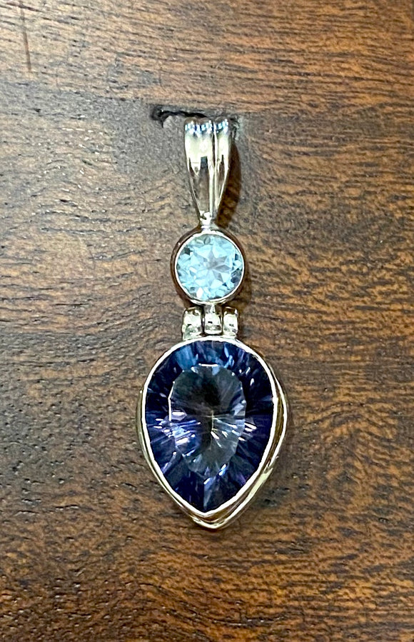 Blue Mystic Topaz Pendant set in Sterling Silver also available in other stones