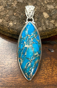 Blue Copper Turquoise Pendant set in Sterling Silver