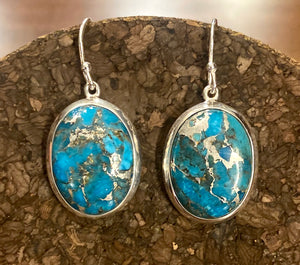 Blue Copper Turquoise Earring set in Sterling Silver