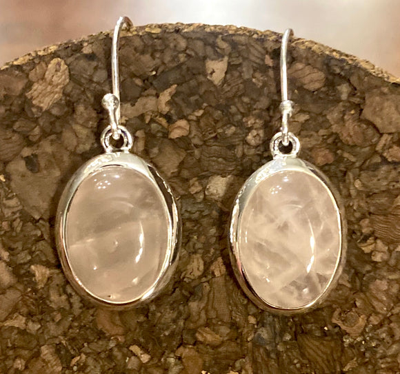 Rose Quartz Earring set in Sterling Silver