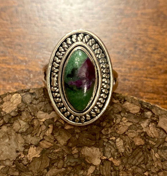 Ruby Zoisite Ring set in Sterling Silver