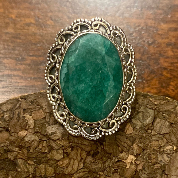 Emerald Cab Stone Ring set in Sterling Silver
