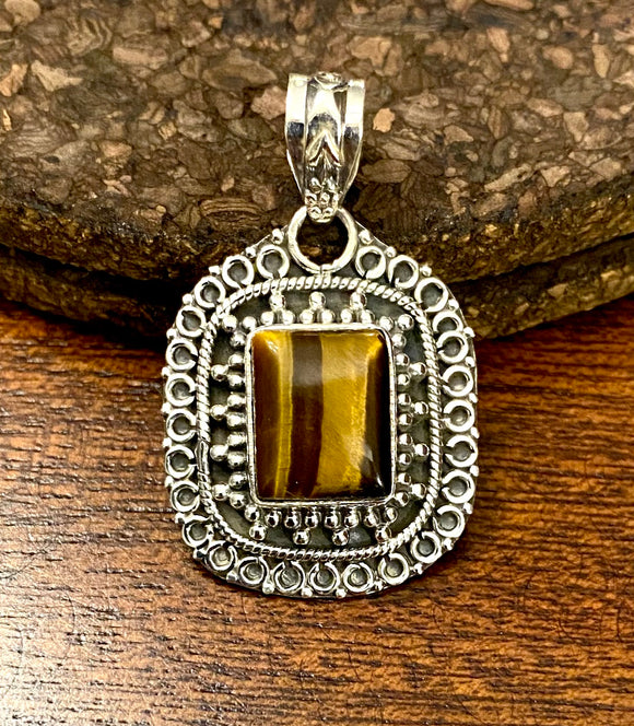 Tigers Eye Pendant set in Sterling Silver