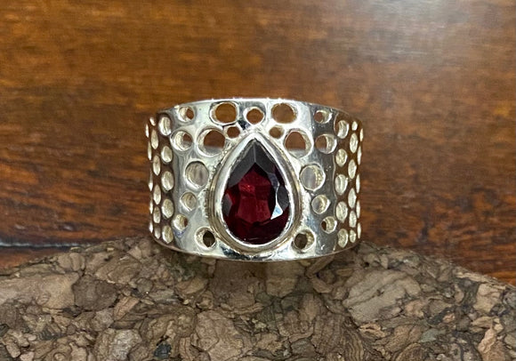 Garnet Ring set in Sterling Silver available in other stone options
