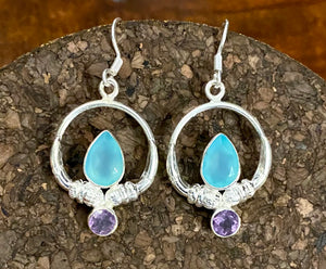 Chalcedony and Amethyst Earring set in Sterling Silver
