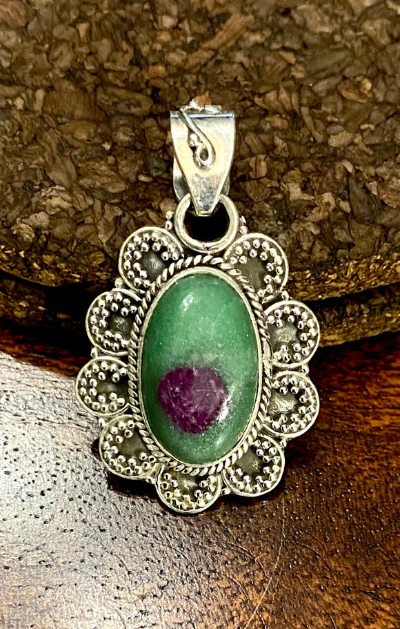 Ruby Zoisite Pendant set in Sterling Silver