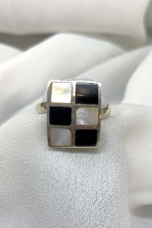 Black and White Mother of Pearl Ring set in Sterling Silver