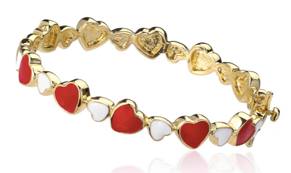 14K Gold Plated Red & White Enamel Cut Out Heart Bangle
