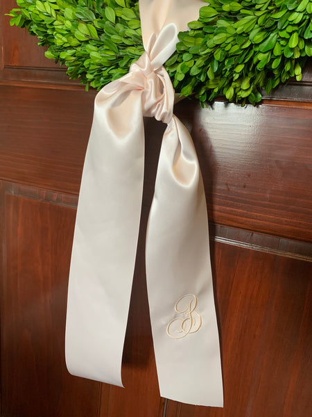 Monogrammed Ribbon Sash or Bow