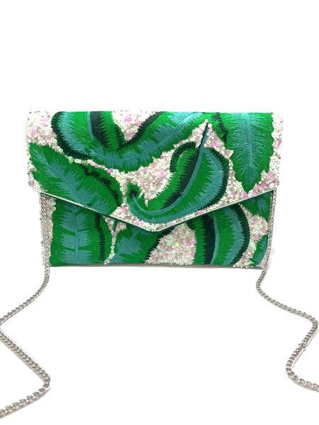 Green Embroidered Bag with Palm Leaves
