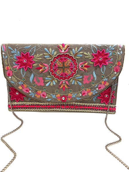 Embroidered Pink Clutch with Gold Chain