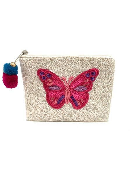 Butterfly Beaded Pouch
