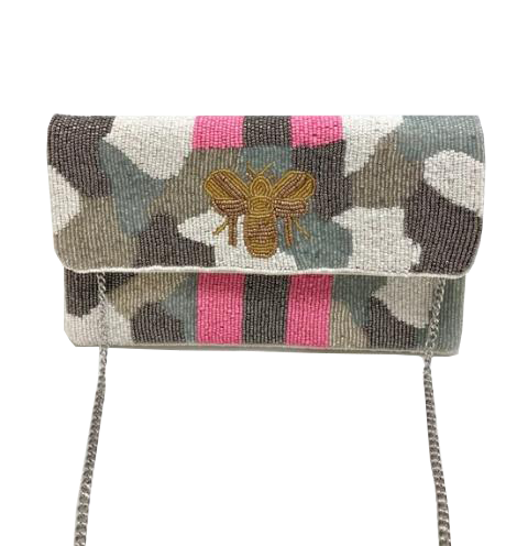 Light Bee Camo Beaded Clutch