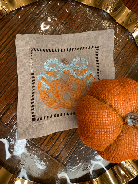 Pumpkin Embroidered Cocktail Napkins
