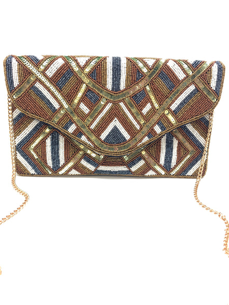 Brown Tonal Beaded Clutch