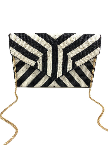 Black & White Stripe Beaded Clutch