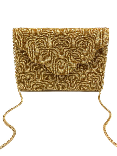 SCALLOPED GOLD BEADED CLUTCH
