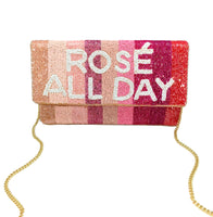 Rose' All Day Beaded Striped Clutch