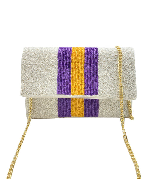 Purple and Gold Mini Beaded Clutch