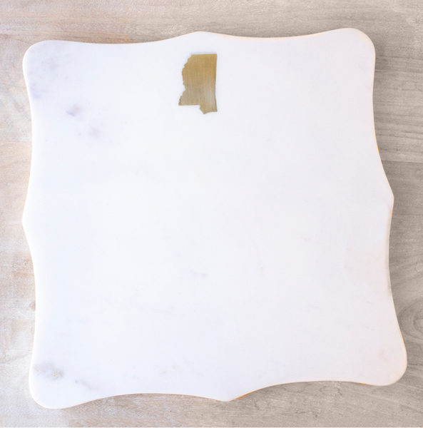Mississippi Marble Serving Board White/Brass 12 x 12 - Ships January 2020
