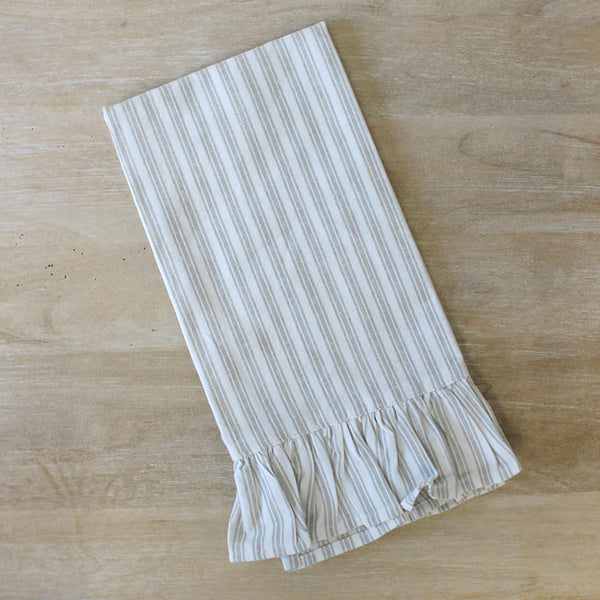 Ticking Stripe Ruffle Hand Towel