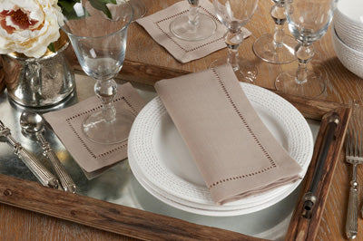 "Set of 4 Taupe 6"" Cocktail Napkins w/ Hemstitch Border"