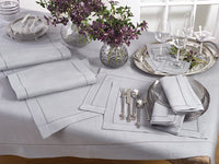 "Set of 4 Grey 6"" Cocktail Napkins w/ Hemstitch Border"
