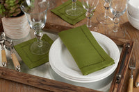 "Set of 4 Kiwi 6"" Cocktail Napkins w/ Hemstitch Border"