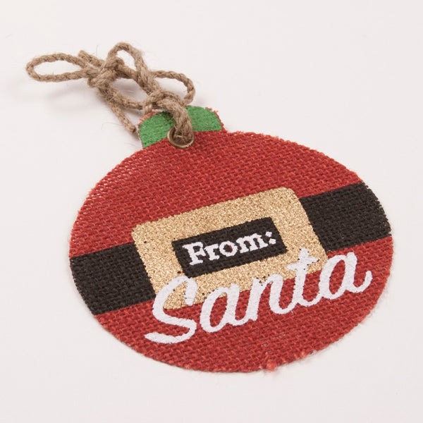 Santa Belt Jute Tag Red