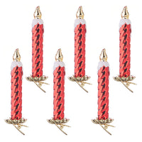 "Set of 6"" Red Clip-on Candle Ornament"