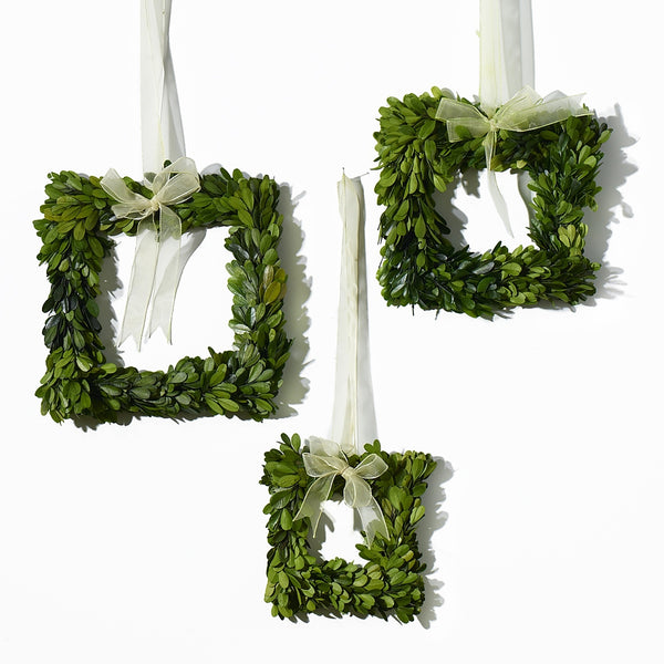 Set of 3 Mini Boxwood Square Wreaths