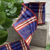 Traditional Plaid Ribbon (red-white-blue, patriotic)