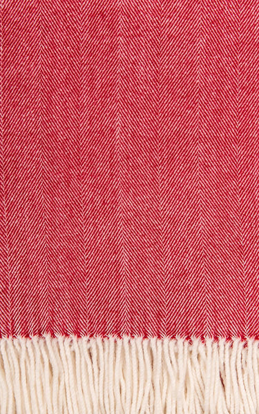 Alashan Blend Adirondack Herringbone Throw - Carmine (Red)