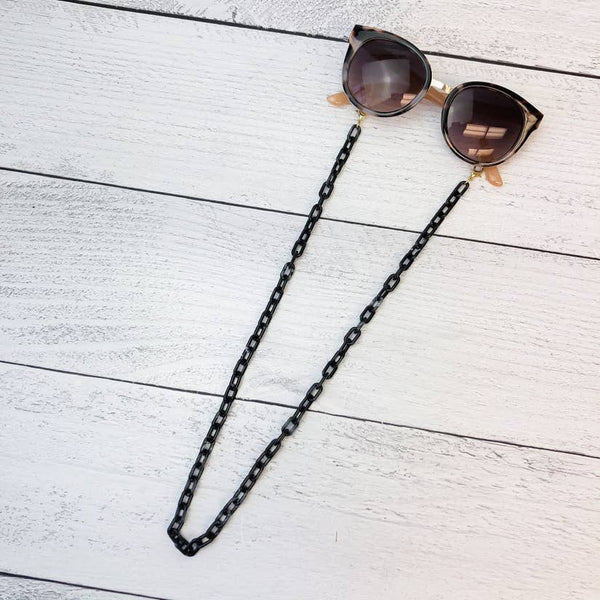 Acrylic Face Mask Necklaces: Black