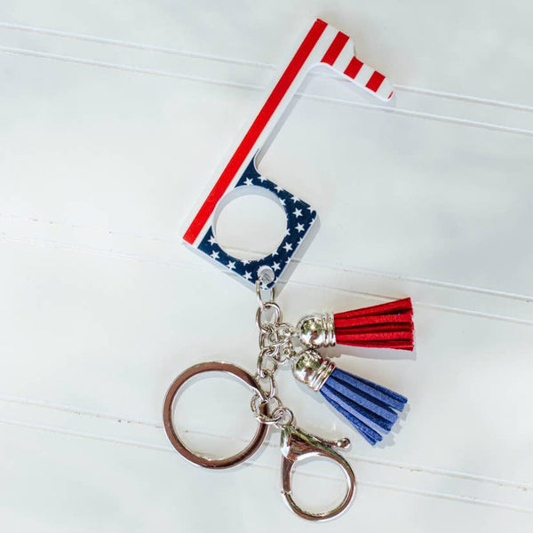 No Touch Key Ring: USA-Patriotic