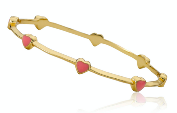 14K Gold Plated Small Pink Enamel Hearts Bangle