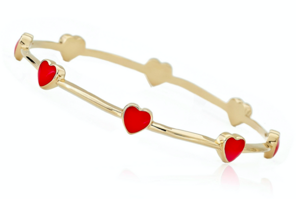 14K Gold Plated Red Enamel Small Hearts Bangle