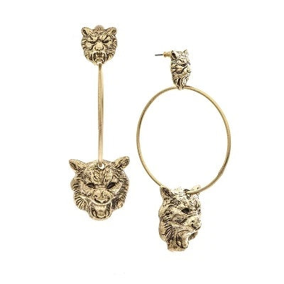 Double Tiger Hoop Earrings