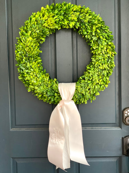 Boxwood Wreath with Custom Monogram Ribbon