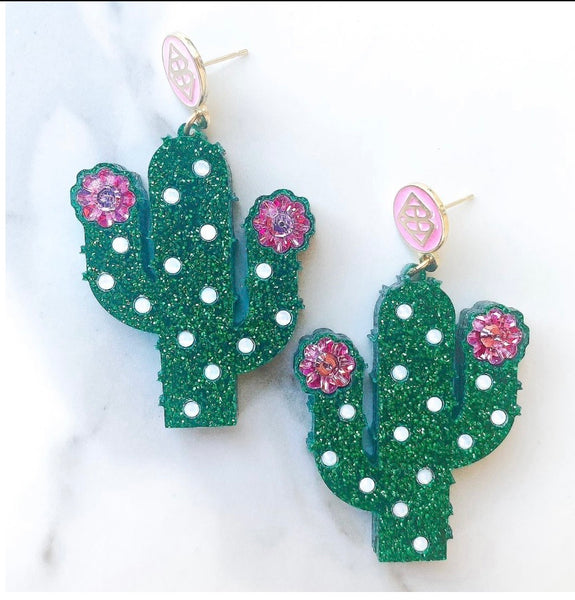Cactus Earrings with Swarovski Crystals